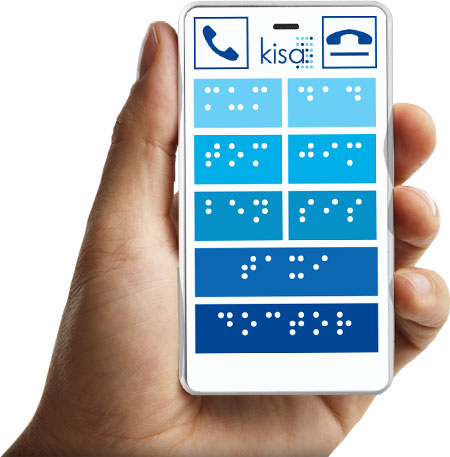 mobile phone in hand with raised braille font for visually impaired