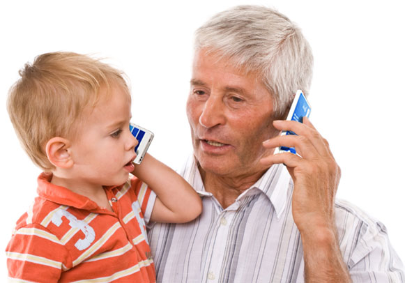 grandfather and child using a KISA phone