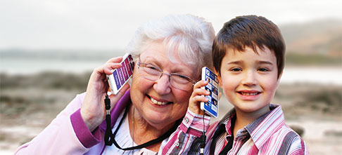 grandmother and child using a KISA phone